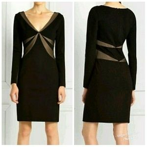 BCBG Maxazria | Black Mesh Contrast V-Neck Dress